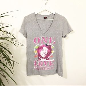 Bob Marley One Love V-Neck Fitted Graphic T-Shirt